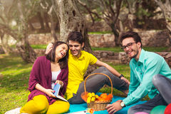 Three young people on picnic under the olive trees Stock Photos