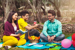 Three young people on picnic under the olive trees Royalty Free Stock Photos