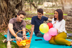 Three young people on picnicunder the olive trees Royalty Free Stock Images