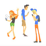 Three Young People Using Gadgets Royalty Free Stock Photo