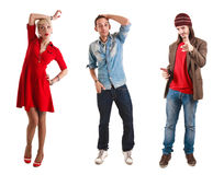Three young persons having fun Stock Images