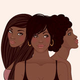 Three young pretty african amerivan women Royalty Free Stock Photo