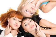 Three young pretty women Royalty Free Stock Images