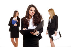 Three young business girls Stock Photos