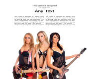 Three young and sexy girls as a music band Stock Photography