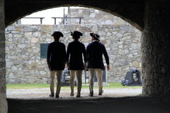 Three young soldiers standing together,Fort Ticonderoga,2014 Stock Image
