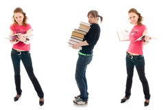 The three young student with a books isolated Royalty Free Stock Images