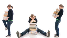 The three young student with a books isolated Stock Photography