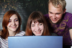 Three young students Stock Photo