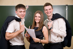 Three young succeeding the businessman Stock Photo
