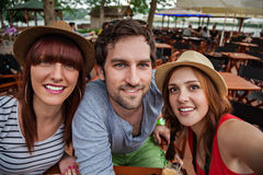 Three Young Taking Selfie Royalty Free Stock Photos