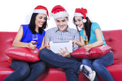 Three young teenager drinking wine Stock Photo