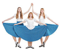 Three young woman in clothing for Scottish dance Royalty Free Stock Photo