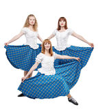 Three young woman in clothing for Scottish dance Stock Photography