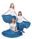 Three young woman in clothing for Scottish dance Royalty Free Stock Images