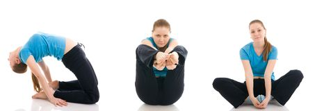 The three young woman doing exercise isolated royalty free stock images