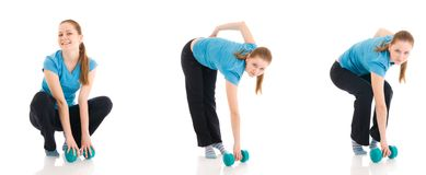 The three young woman doing exercise isolated stock photography