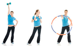 The three young woman doing exercise isolated Royalty Free Stock Photos