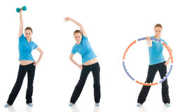 The three young woman doing exercise isolated Stock Photos