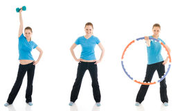 The three young woman doing exercise isolated Royalty Free Stock Photography