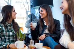Three young woman drinking coffee and speaking at cafe shop. Stock Photography