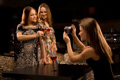 Three young woman having fun Royalty Free Stock Photo