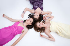 Three Young Women. Laughing and playing royalty free stock image