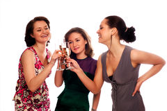 Three Young Women. Enjoying Champagne At A Party Royalty Free Stock Photo