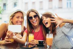Three young women in a cafe after a shopping make selfie photo. Having fun stock photos
