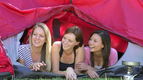 Three Young Women On Camping Holiday Together stock video