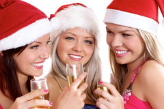 Three young women are celebrating Christmas Royalty Free Stock Image