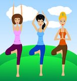 Three young women do physical exercises Stock Image
