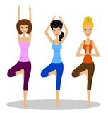 Three young women do physical exercises Stock Images