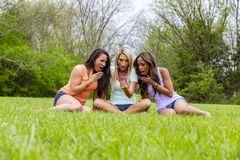 3 Girlfriends Enjoying A Day At The Park royalty free stock photo