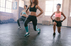 Three young women exercising in gym. Portrait of three young women doing workout together in gym. Females exercising in fitness class Royalty Free Stock Image