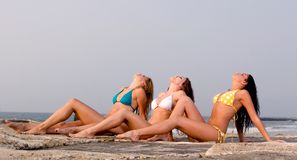 Three Young Women In A Bikini