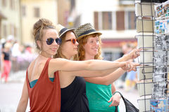 Three young women make tourism in Annecy Stock Images