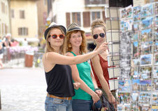 Three young women make tourism in Annecy Stock Photos