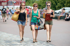 Three young women make tourism Stock Photos