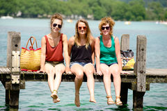 Three young women make tourism Royalty Free Stock Photography