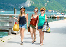 Three young women make tourism Royalty Free Stock Images