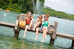 Three young women make tourism Stock Photo