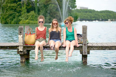 Three young women make tourism Stock Photography