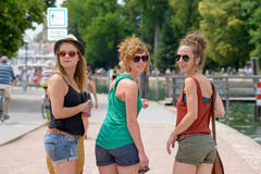 Three young women make tourism Stock Photos