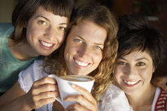 Three young women posing cheek to cheek in cafe, smiling, central woman holding cup of coffee, close-up, portrait (tilt) Royalty Free Stock Photo
