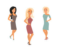 Three young women are posing Stock Photography