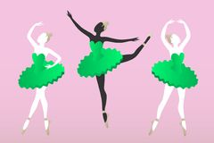 Three young women silhouettes dancing ballet. On a pink background isolate Stock Image