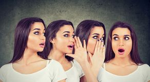Three young women whispering each other and to a shocked astonished girl in the ear royalty free stock photos