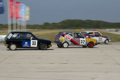 Three Yugo cars racing Royalty Free Stock Photography