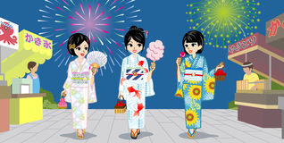 Three Yukata girls in Japanese Summer festival. Three Yukata girls in Japanese Summer Firework Display.Vector Illustration Stock Photo